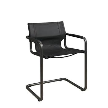 GIANNI Armchair natural iron/matt black taupe leather