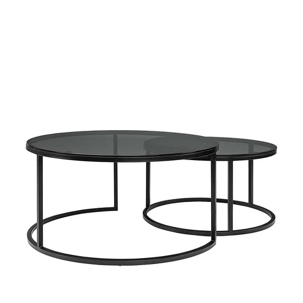 REEVES coffee table 2-set glass smoke grey