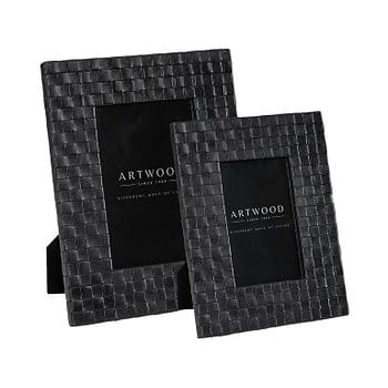 FUEGO Photo frame 2-set woven Leather black