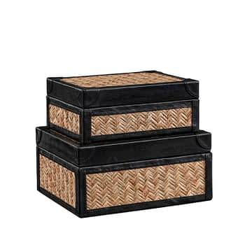 FABRIANO Box 2-set rattan/leather black