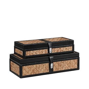 FABRIANO BUCKLE  Box 2-set rattan/leather black