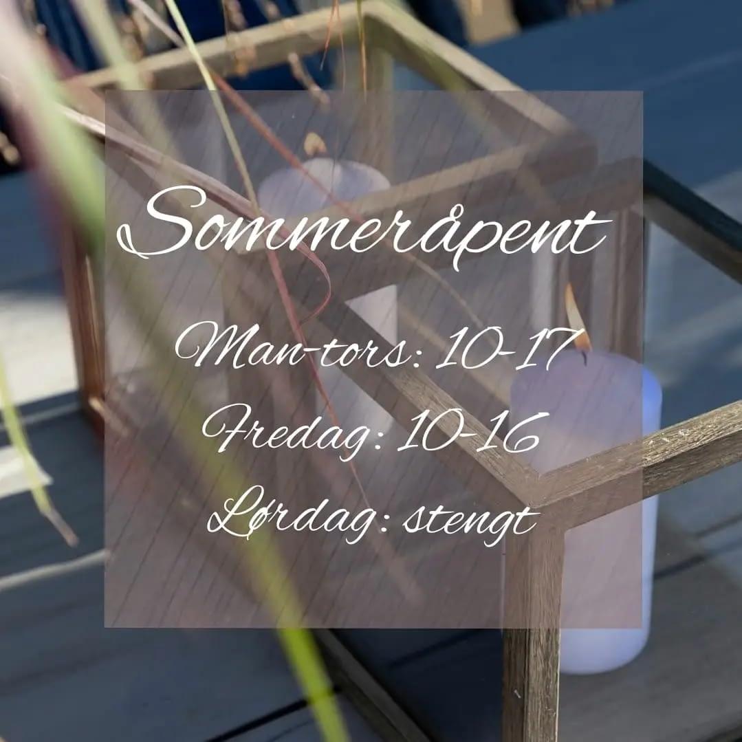 åpningstider sommer 2021 bjinterior.no